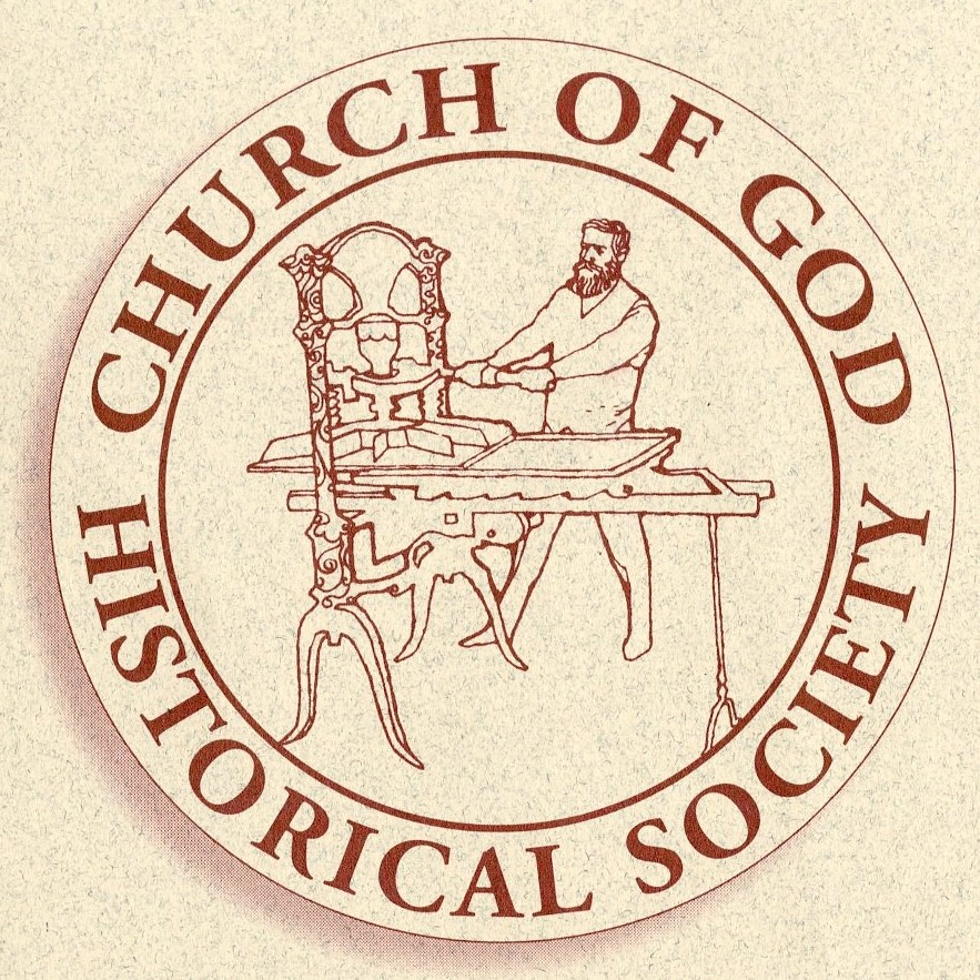 Logo of the Church of God Historical Society, drawn image of D. S. Warner at a hand press